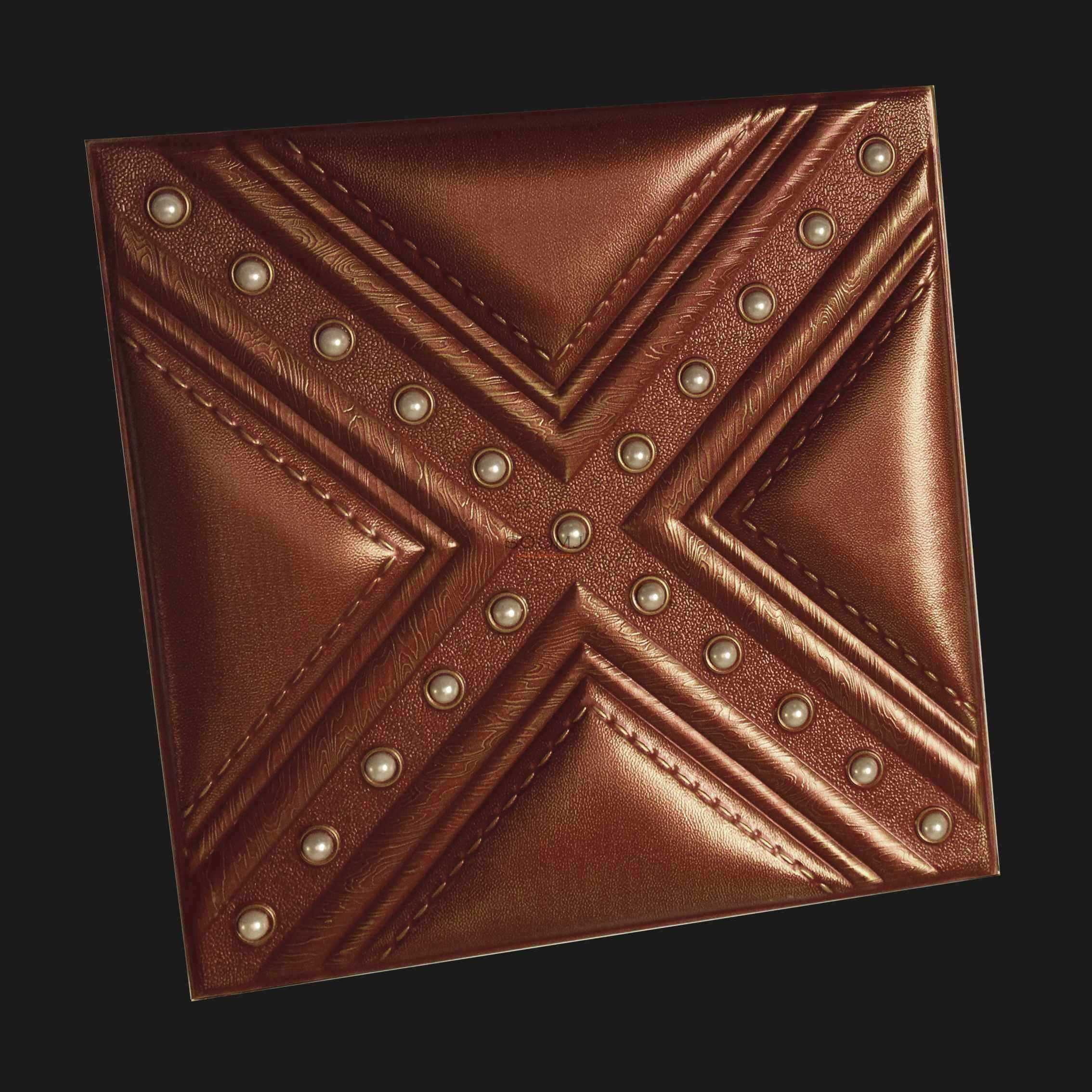 Quality 3d leather panels faux leahter glue up tiles one for Faux leather floor tiles