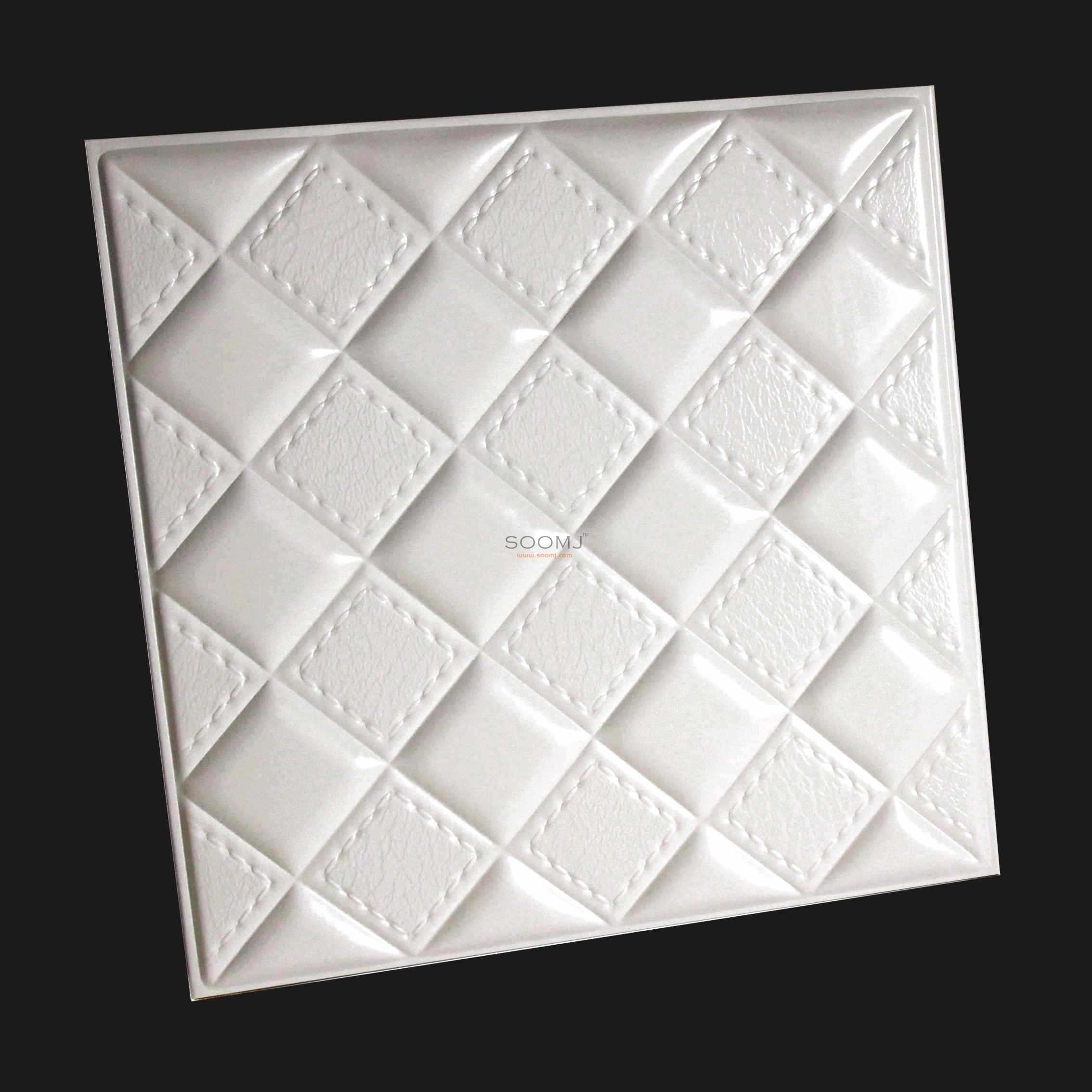 Quality 3D Leather Panels Faux Leahter Glue UP Tiles e square