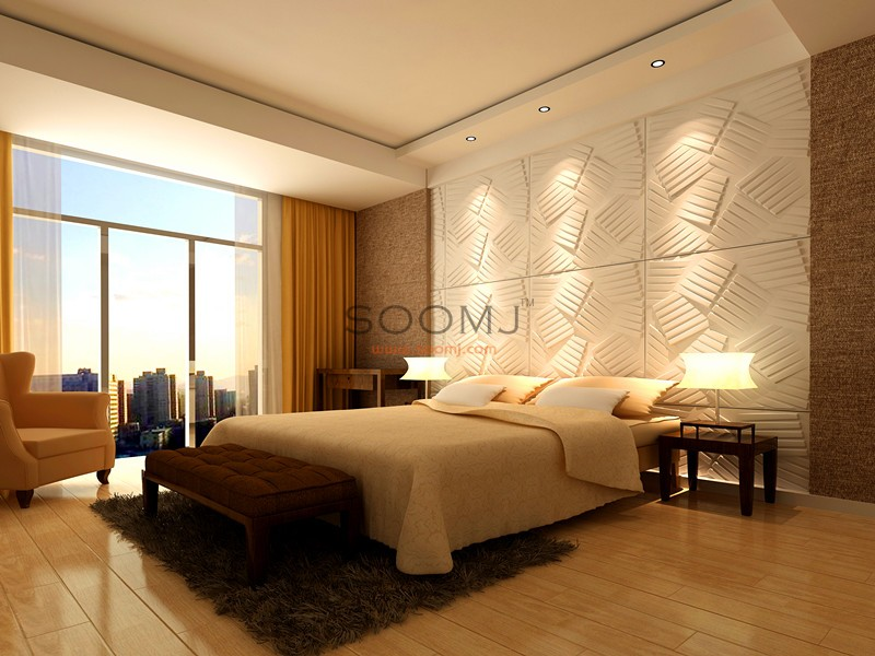 Embossed Effect Decorative 3D wall Panels Plant Fiber Material 130 ...