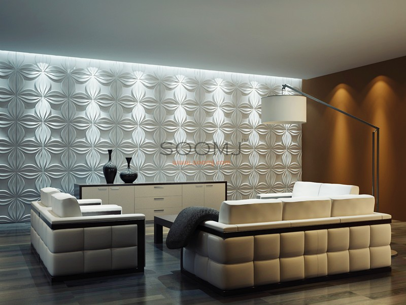 Dimensional Wall Tiles 3d Panels Plant Fiber Material Set Of 12 B2855020
