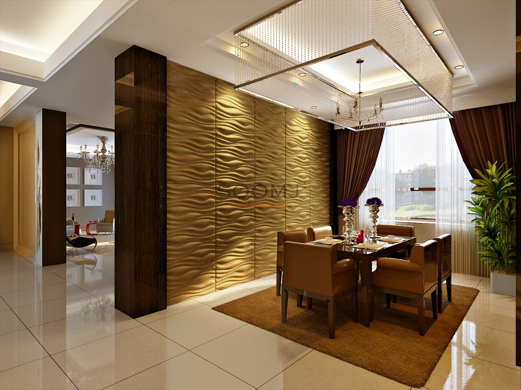 Embossed Effect Decorative 3D Wall Panels Plant Fiber Material
