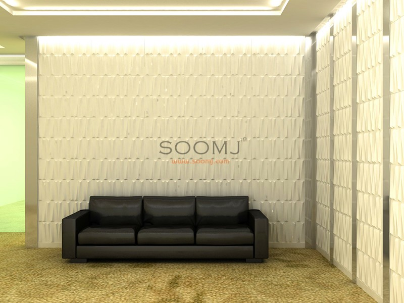 Embossed Effect Decorative 3D wall Panels Plant Fiber Material ...