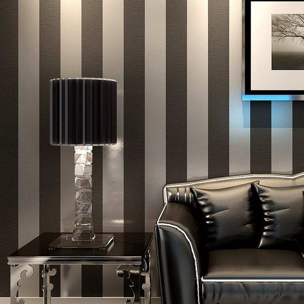 Modern Black Wallpaper Striped Purple And Silver Glitter Wall Paper Roll For Living Room Bedroom TV Sofa Background C17SN35001