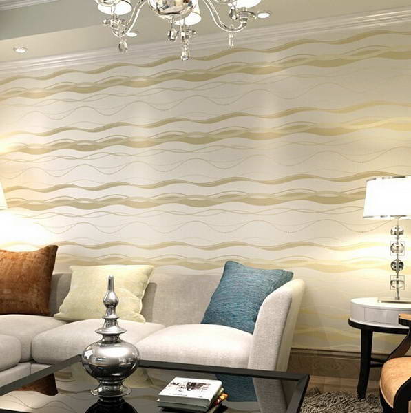 High end luxury wall paper simple style waves stripes for High end wallpaper