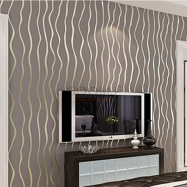 5 color high quality modern luxury flocking vertical stripes wallpaper for living room bedroom background wall grey coffee c17sn35018