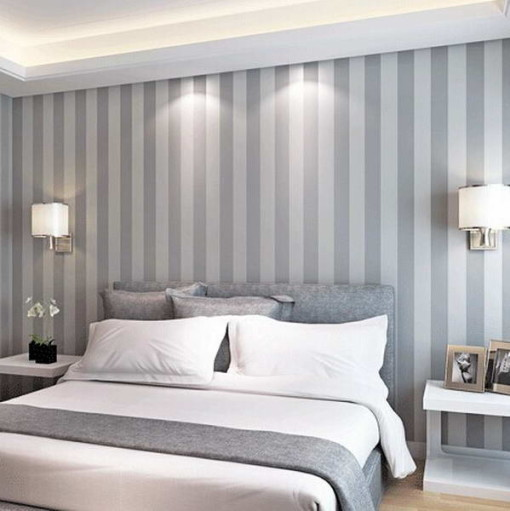 The New Non Woven Flocking Simple Striped Wallpaper Bedroom Living Room  Sofa Backgroumd For Wall Paper #C17SP37002 Part 87