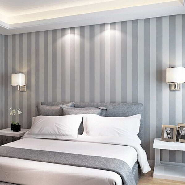The new non woven flocking simple striped wallpaper - Habitaciones con papel pintado y pintura ...