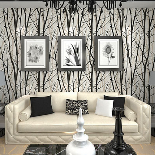 Textured Tree Forest Woods Wallpaper Pvc Wall Paper Roll For Tv Background Home Decor Black White C17fp37001