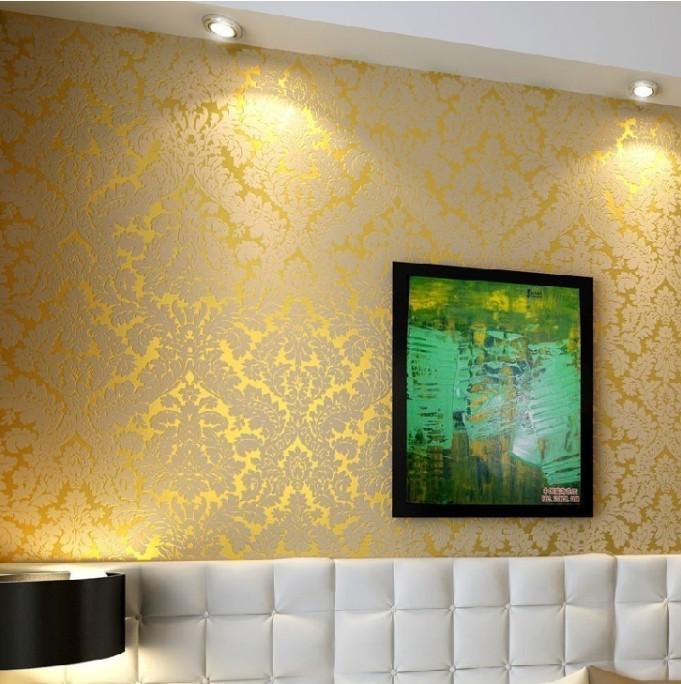European Vintage Luxury Damask Wall Paper Pvc Embossed Textured Wallpaper Rolls Home